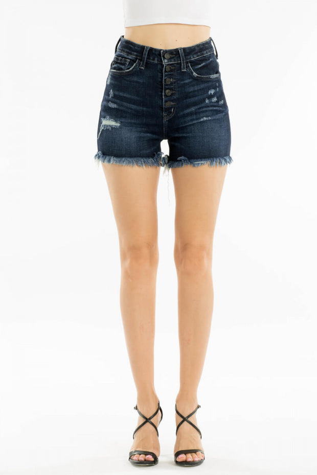 Frayed Button Down Shorts