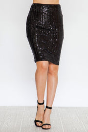 BODYCON SKIRT WITH STRIPED SEQUINS