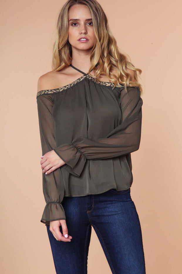 Golden Vine Embroidered Blouse