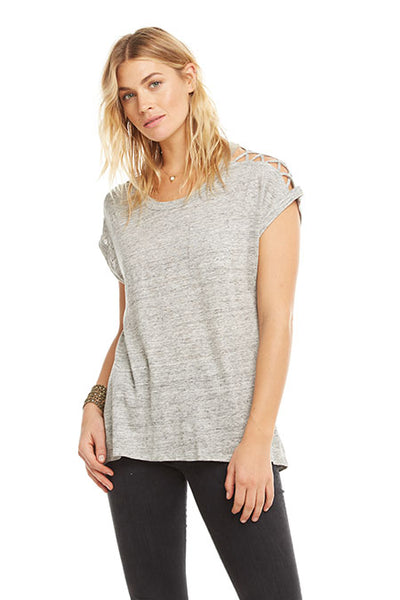 LINEN JERSEY CAP SLEEVE STRAPPY SHOULDER VENT HI-LO POCKET T, by Chaser