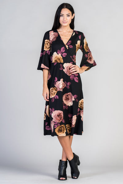 Floral Print 3/4 Sleeve Wrap Dress