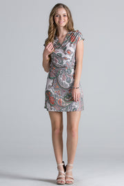 Paisley Printed Wrap Dress