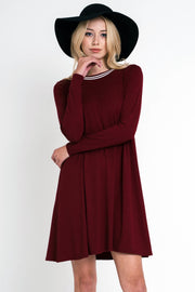 Striped Neckline Contrast Detail Solid Long Sleeve Dress