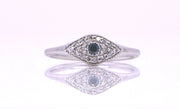 BLUE DIAMOND CENTER EYE PAVE RING