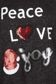 Holiday Glitter Peace, Love & Joy Top