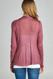 LONG SLEEVE FLYAWAY CARDIGAN WITH SIDE POCKETS