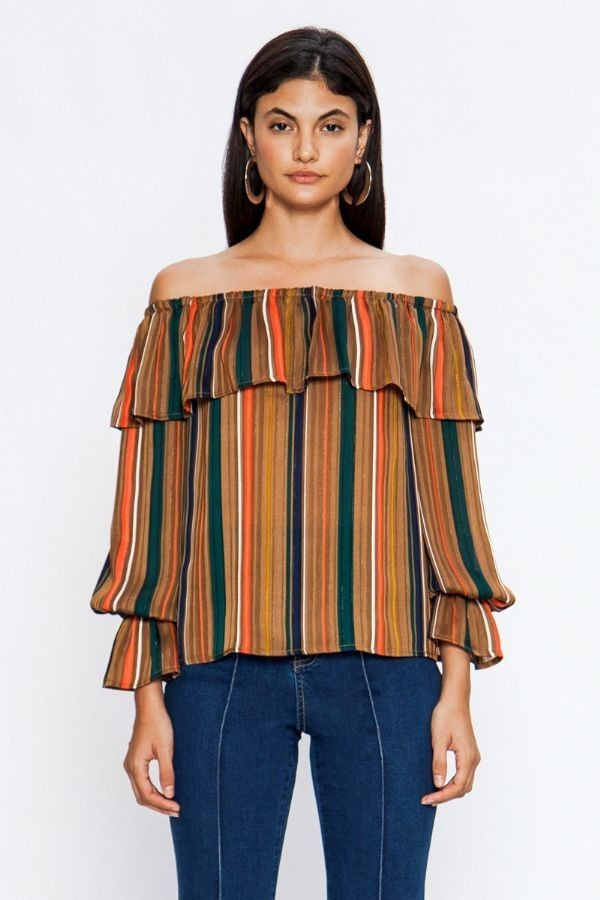 Striped Top With Bishop Sleeves