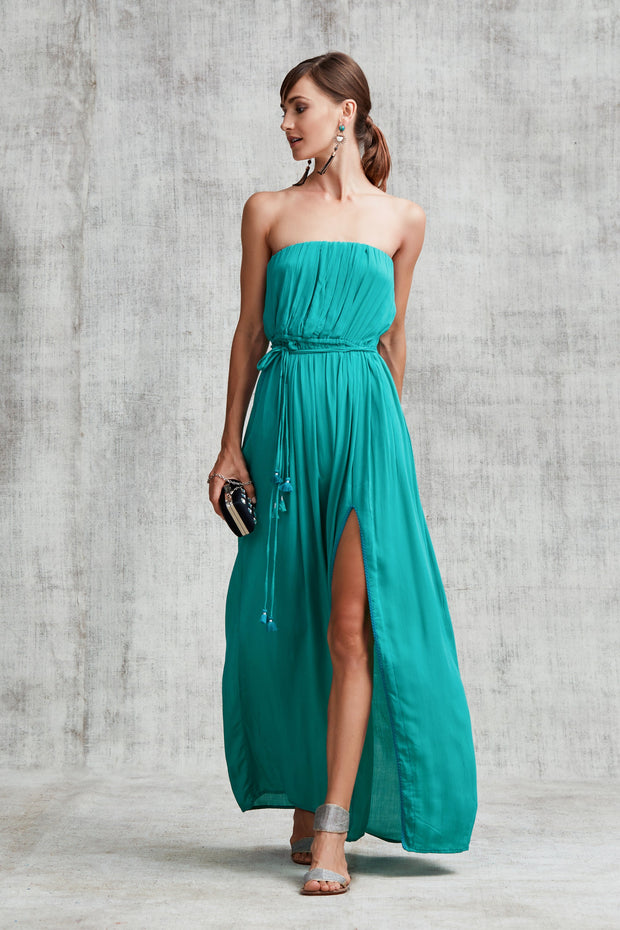 LONG DRESS MARA STRAPLESS - Emerald Green