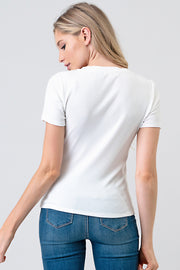 Basic V-Neck Ribbed Tee