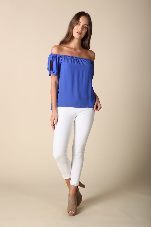 Tied Sleeve Cold Shoulder Blouse