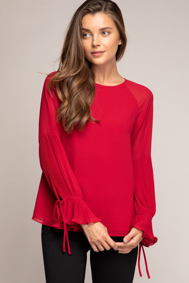 Micro Pleated Ruffled Cuff Blouse