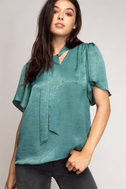 Bow Tie Short Sleeve Blouse