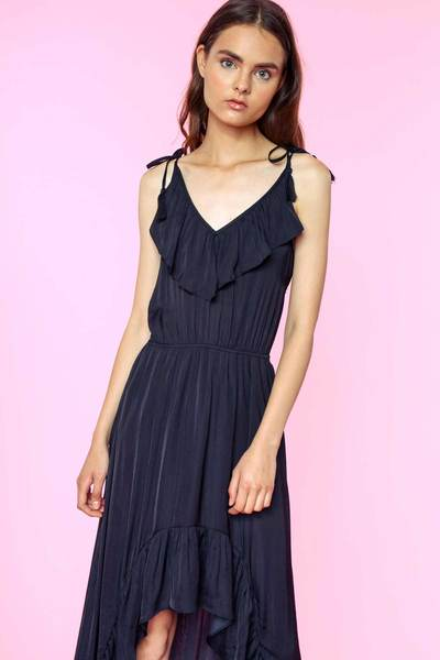 Hi-Lo Ruffled Maxi Dress