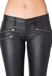 LOW RISE COATED BIKER SKINNY W/ ANKLE ZIP