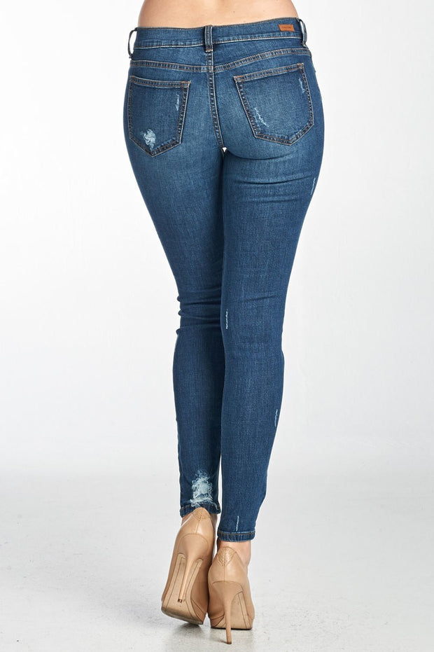 DESTROYED LOW RISE CIGARETTE JEAN