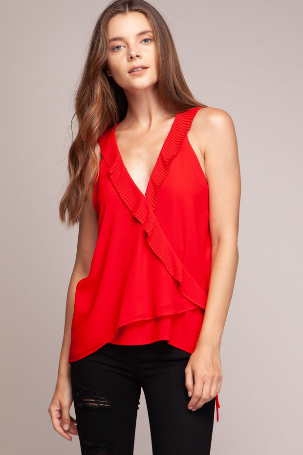 Pleated Ruffled Wrap Top