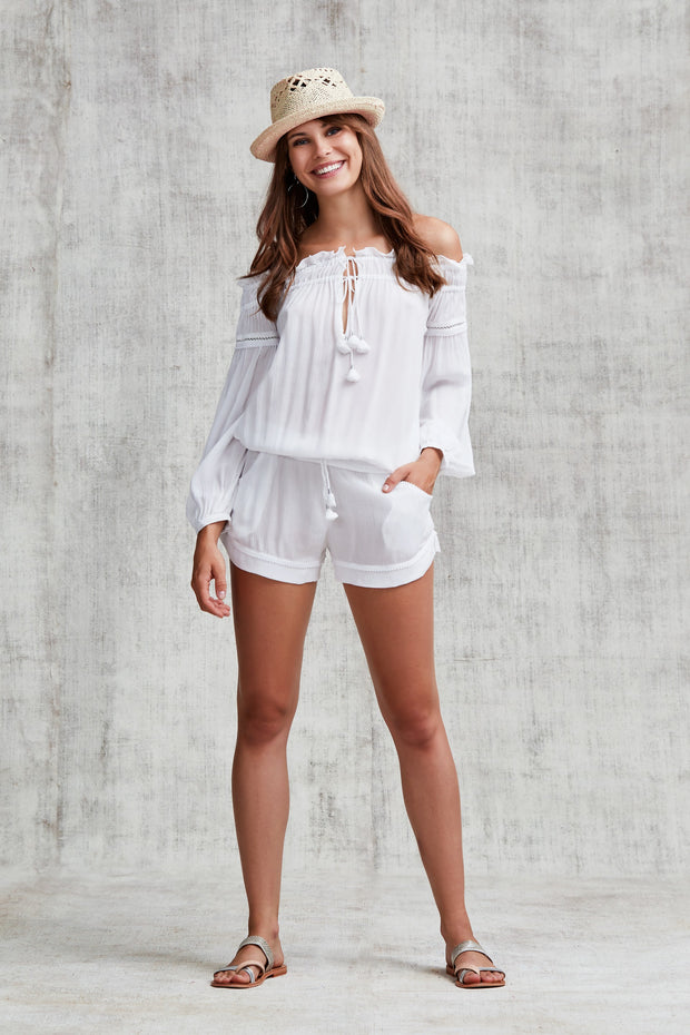 SHORT JUMPSUIT CLARA OFF SHOULDER - White