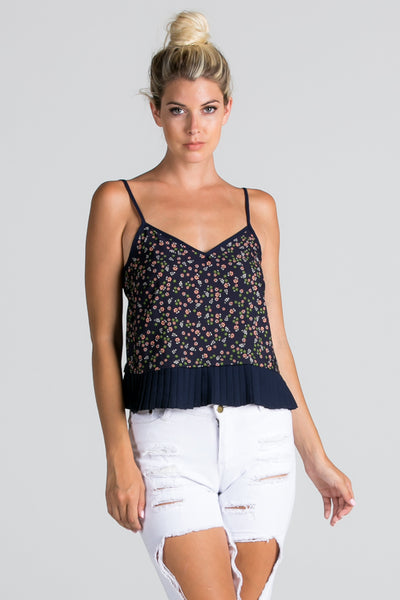 Floral Print Pleated Hem Cami Top