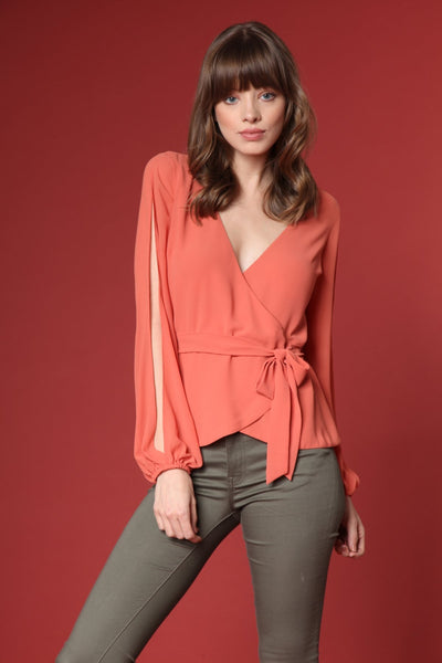 Slit Sleeve Wrap Blouse