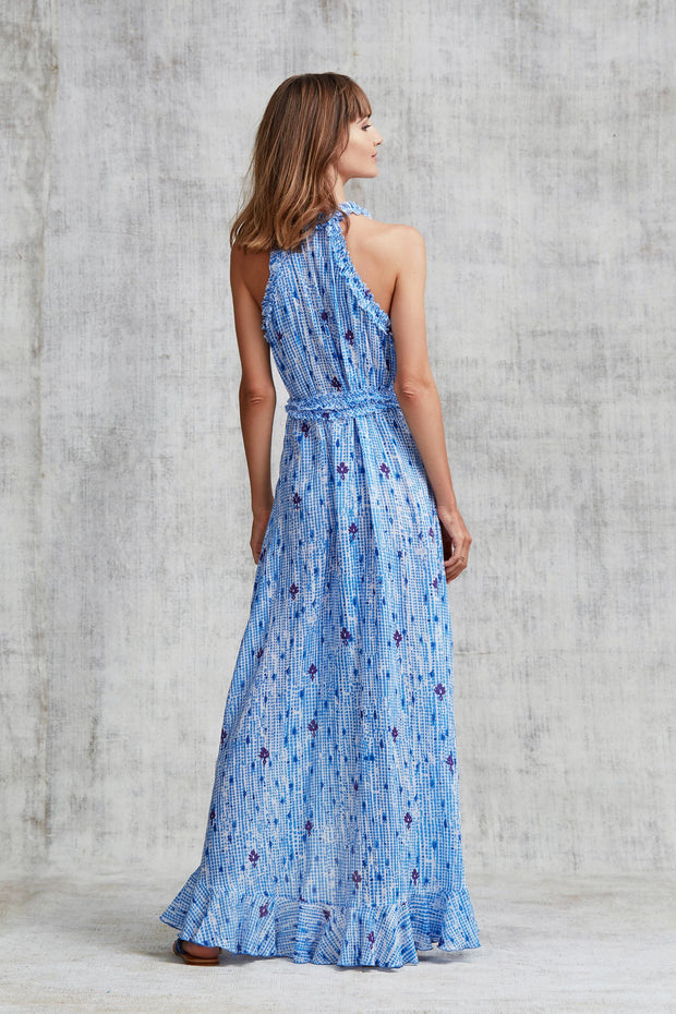 LONG DRESS TAMARA RUFFLED - Blue