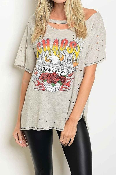 Short Sleeve Cut-Out Distressed Graphic Top