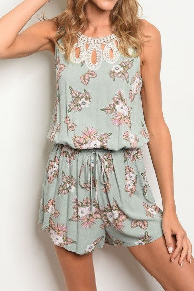 Sleeveless Lace Round Neck Romper