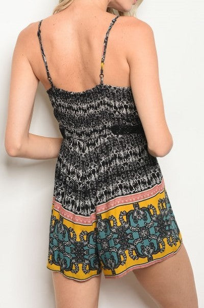 Sleeveless V-neck cut out printed romper