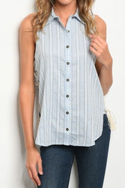 Sleeveless Button Down Collared top
