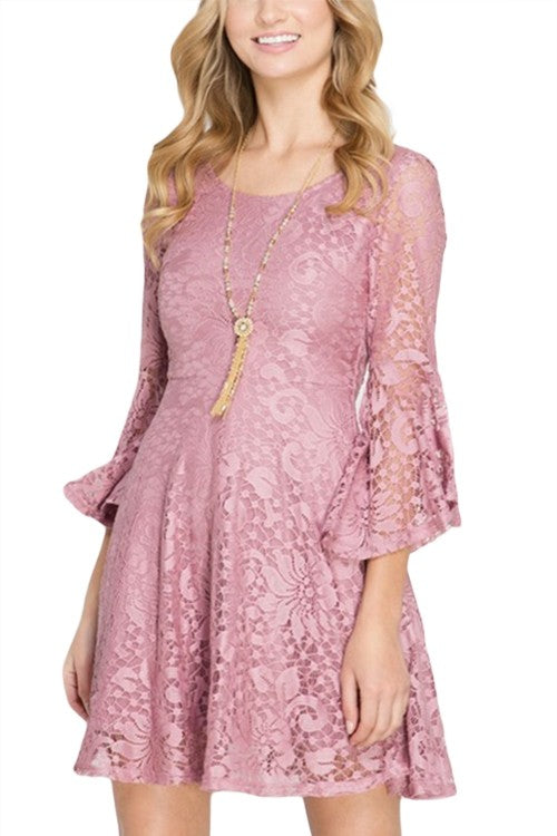 3/4 Bell Sleeves Lace Fit And Flare Dress