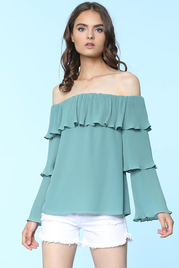 Off Shoulder Trumpet Blouse