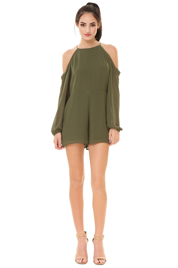 LONG SLEEVE COLD SHOULDER TRIM ROMPER