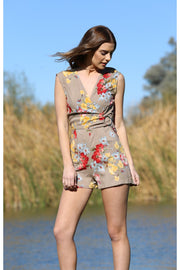 Floral Romper with O-Ring Detail