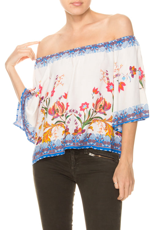 WILDFLOWER PRINT OFF-THE-SHOULDER TOP