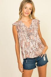 Dye Washed Print Top with Back Criss Cross Detail