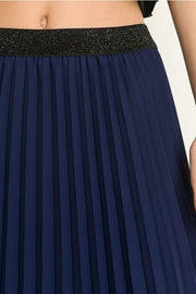 PLEATED MAXI SKIRT WITH ELASTIC WAIST BAND