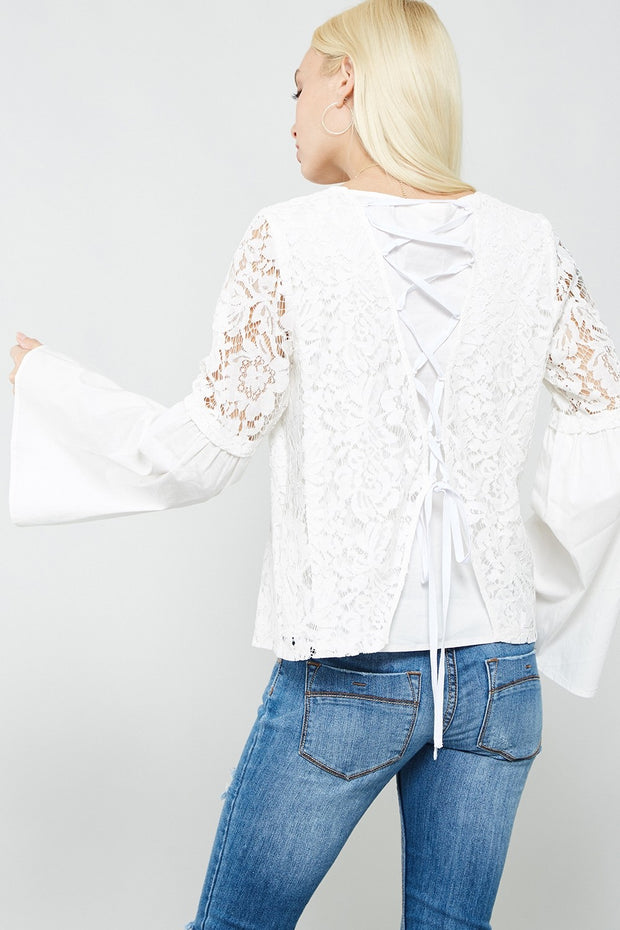 Ivory Semi-Sheer Lace Blouse