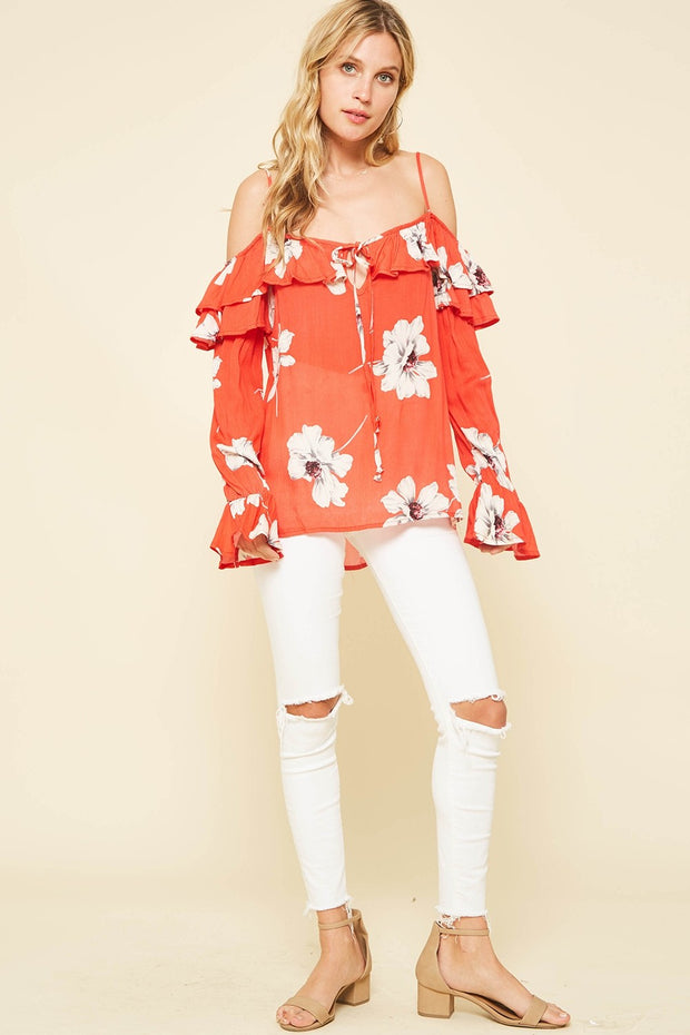 Floral Blouse With Trumpet Sleeves