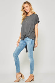 Knotted High-Low Knit Top