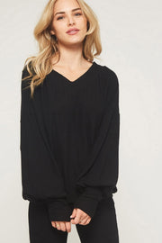 Ribbed Cuff Knit Top