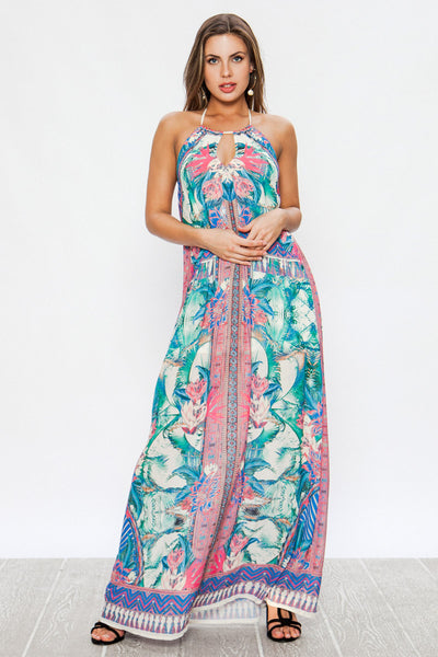 Keyhole Printed Maxi Dress