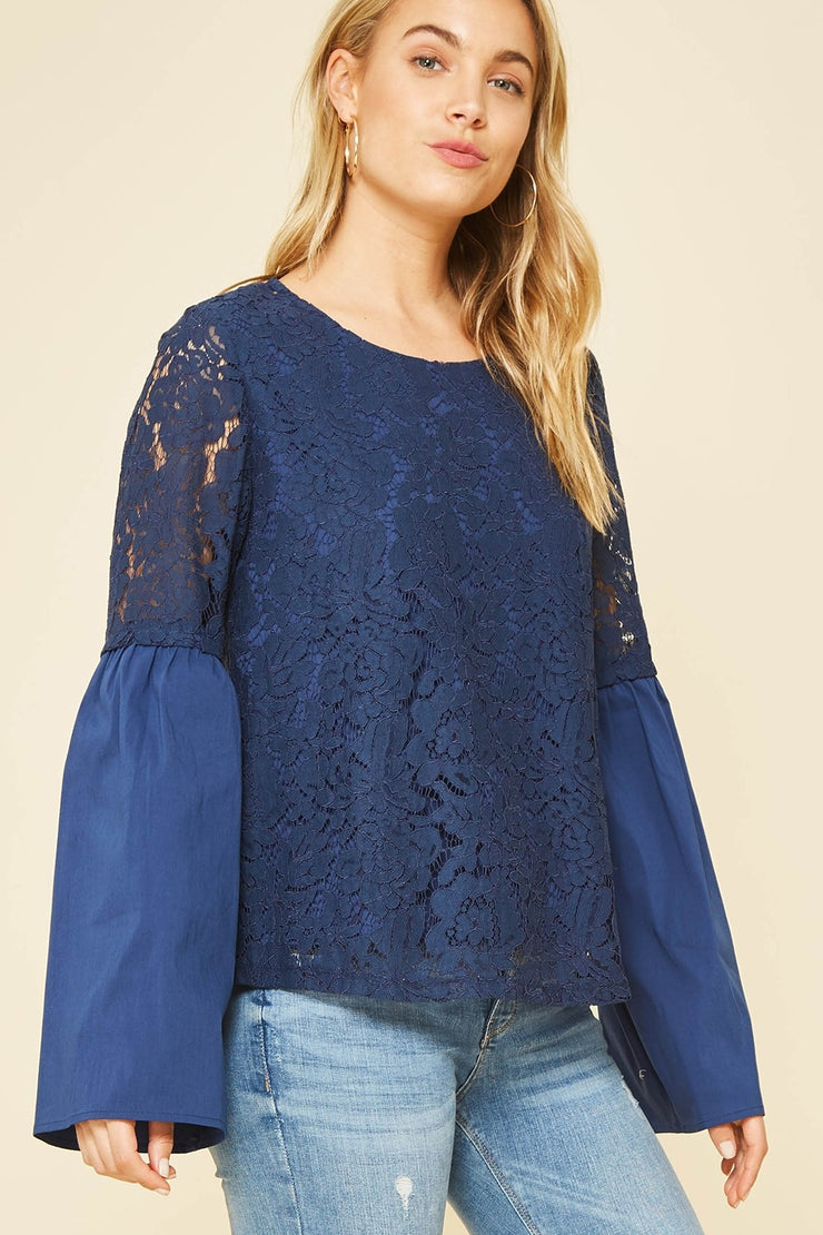 Semi-Sheer Lace Blouse
