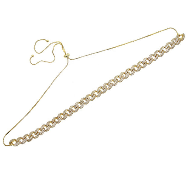 Micro Pave Cuban Link Choker Necklace