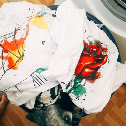 Laundry with MAYA K hand painted T-shirts
