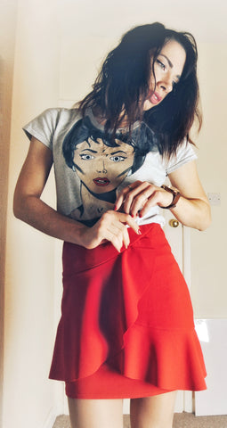 christmas outfit with pop art hand painted t-shirt and red mini skirt women's