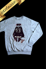 light grey long sleeved sweatshirt with hand painted darth vader star wars design exclusive