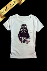 white short sleeved t-shirt with hand painted darth vader star wars design exclusive