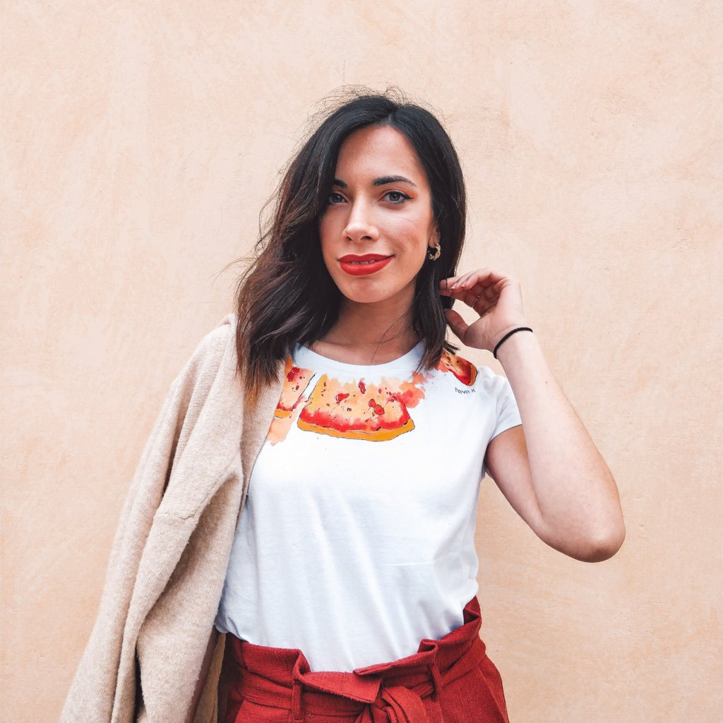 woman wearing pizza design t-shirt hand Painted