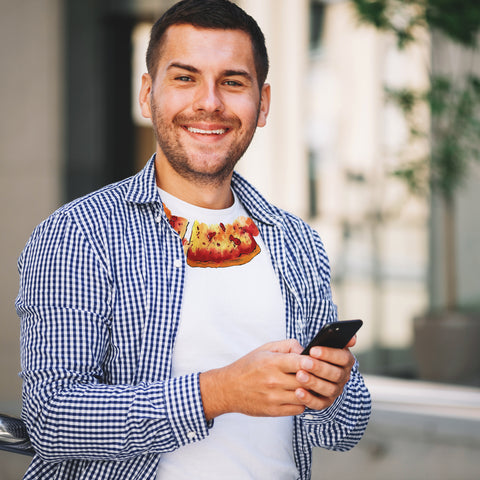 Smilling handsom man wearing pizza T-shirt
