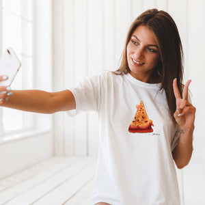 beautiful woman with pizza slice white T-shirt taking selfie