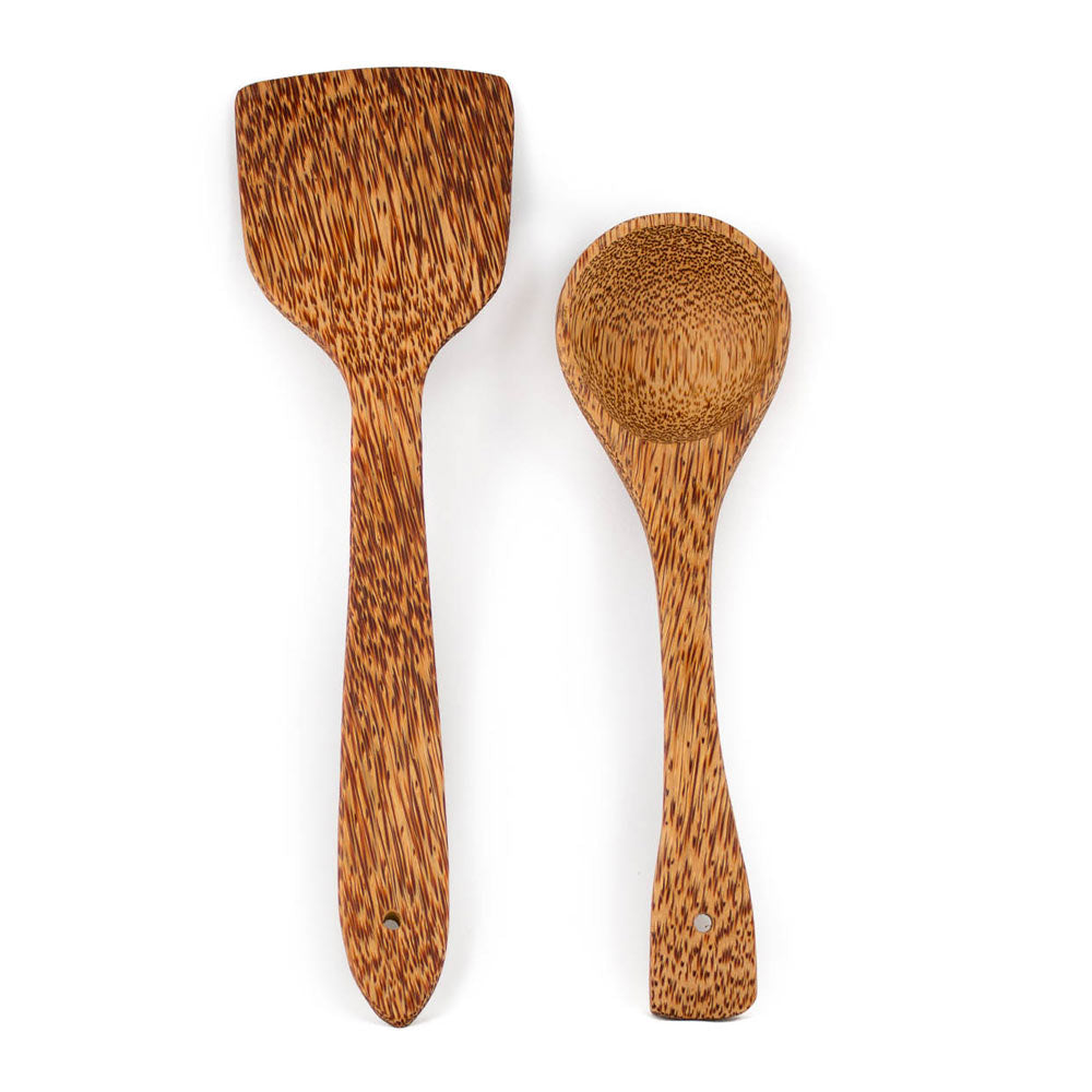 studio TR Kokosholz Kelle braun ungefärbt zum Kochen oder Servieren von Speisen Coconut wood cooking spoon brown undyed for cooking and serving food